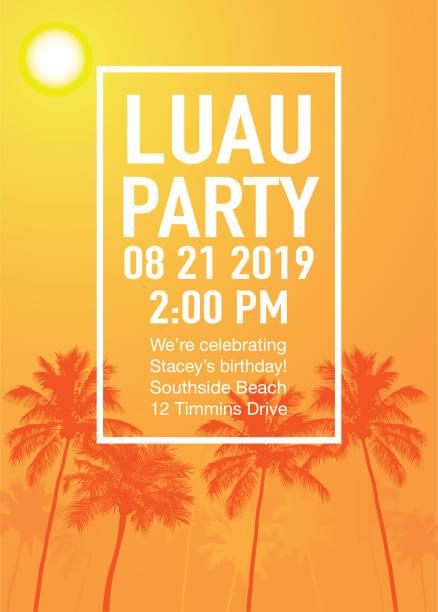 stockillustraties, clipart, cartoons en iconen met luau party uitnodiging met zonsondergang en palm bomen - twilight