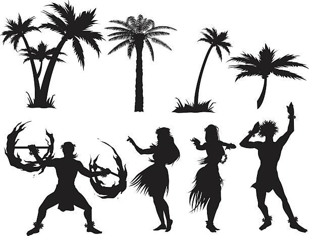luau silhouettes - hawaiian lei stock illustrations, clip art, cartoons, & icons
