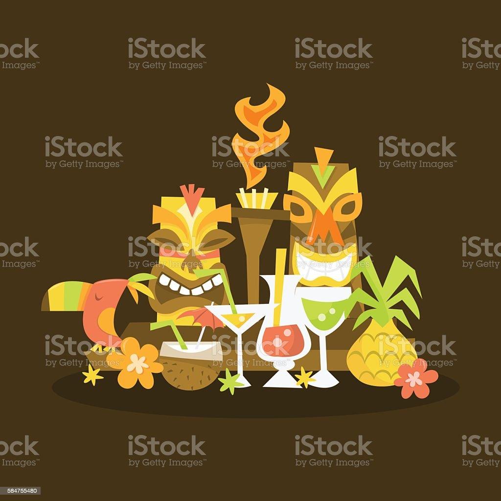 Luau Tiki Centerpiece vector art illustration