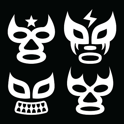 Lucha Libre faces vector design, luchador or luchadora graphics - Mexican wrestling traditinonal male and female mask set