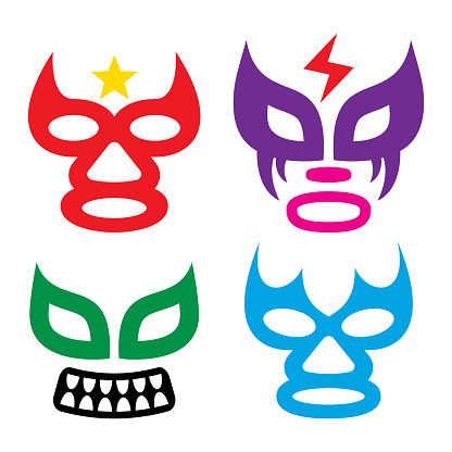 Lucha Libre faces vector design, luchador or luchadora graphics - Mexican wrestling traditional male and female color mask set