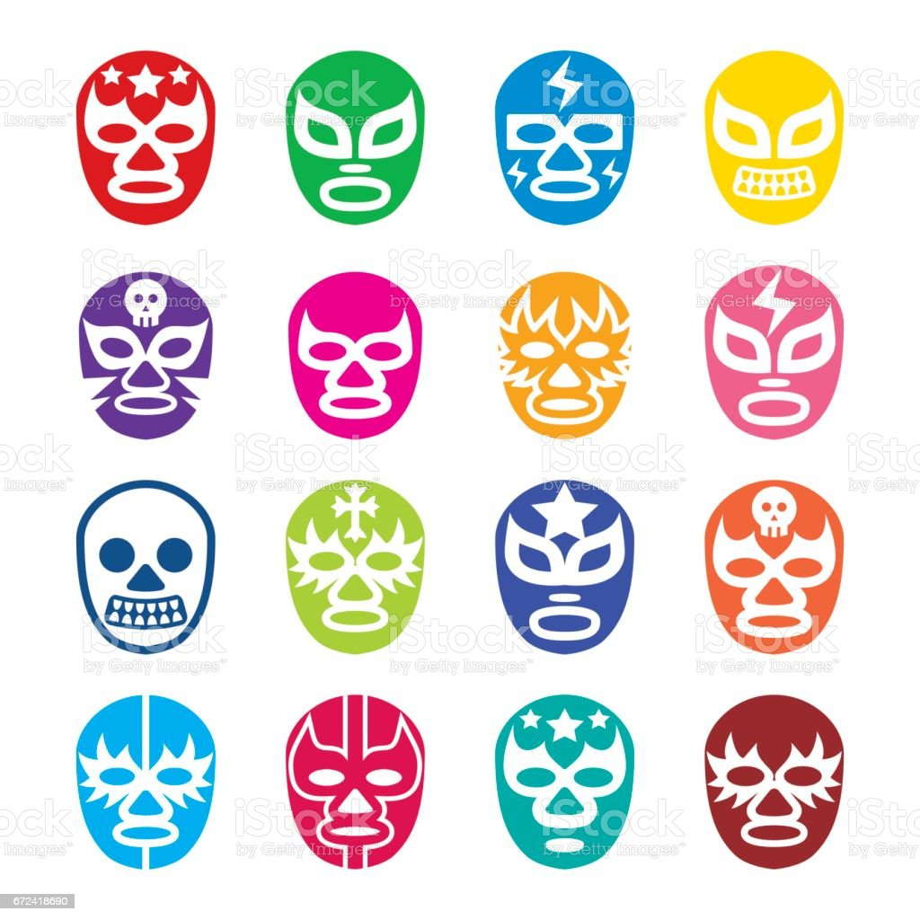 Lucha Libre, Luchador icons, Mexican wrestling masks vector art illustration