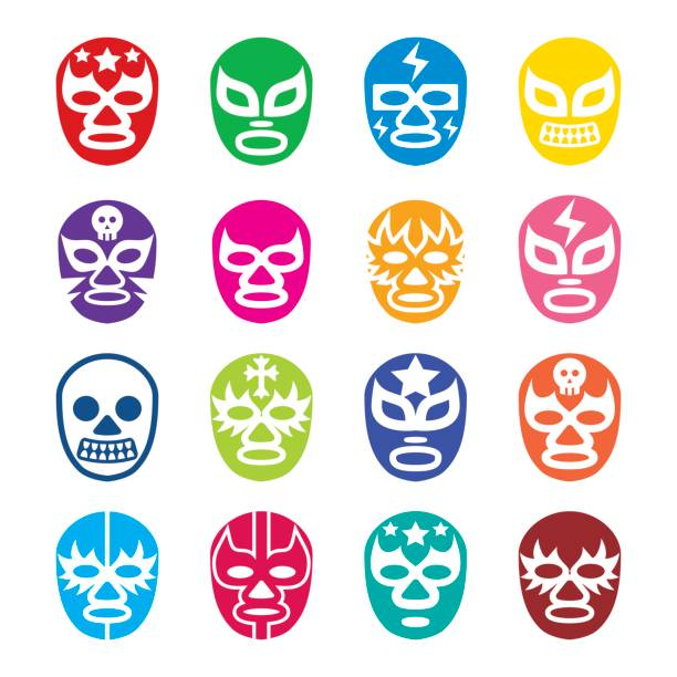 lucha libre, luchador icons, mexican wrestling masks - wrestling stock illustrations, clip art, cartoons, & icons