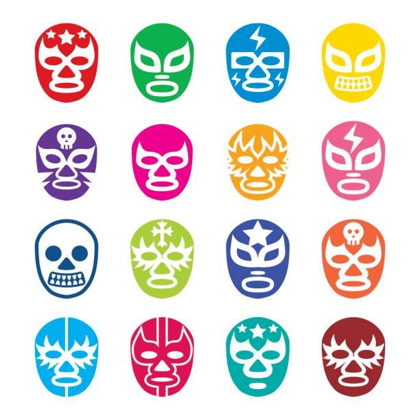 ilustraciones, imágenes clip art, dibujos animados e iconos de stock de lucha libre, luchador iconos, máscaras de lucha libre mexicana - lucha