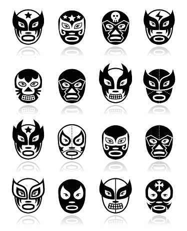 Lucha libre, luchador Mexican wrestling black masks icons