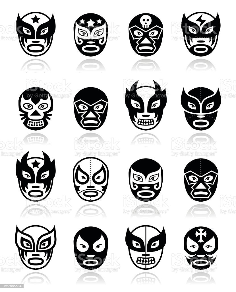 ルチャリブレ、luchador メキシコレスリングブラックのマスクのアイコン ベクターアートイラスト