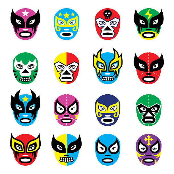 lucha libre, luchador mexican wrestling masks icons - wrestling stock illustrations, clip art, cartoons, & icons