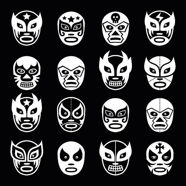 ルチャリブレ、luchador メキシコレスリングホワイトマスクアイコンブラック - レスリング点のイラスト素材/クリップアート素材/マンガ素材/アイコン素材