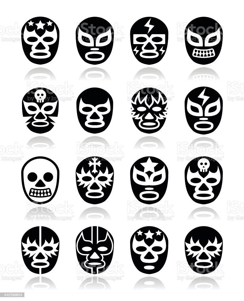 Lucha libre, luchador Mexican wrestling white masks icons on black vector art illustration