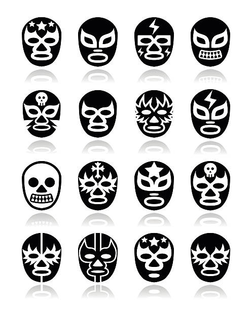 lucha libre, luchador mexican wrestling white masks icons on black - wrestling stock illustrations, clip art, cartoons, & icons
