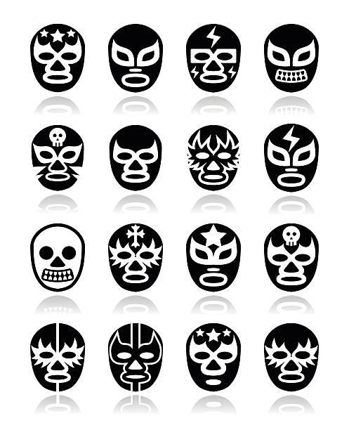 ilustraciones, imágenes clip art, dibujos animados e iconos de stock de lucha libre mexicana, luchador de la de lucha libre mexicana máscaras iconos en blanco y negro - lucha