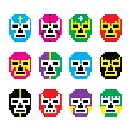 Lucha Libre, luchador pixelated Mexican wrestling masks icons