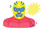 Lucha Libre Mexican Wrestler Portrait illustration.