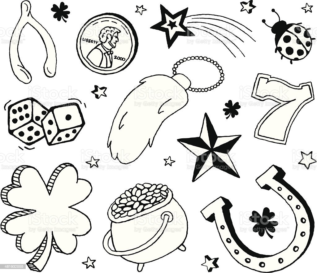 Luck Doodles vector art illustration