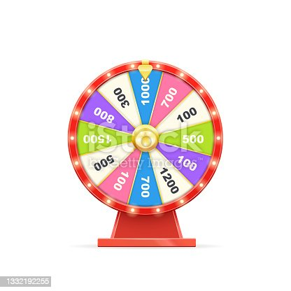 istock Luck fortune wheel for money win isolated on white 1332192255