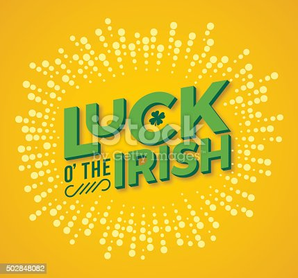 Luck o' the Irish St. Patrick's Day concept message. EPS 10 file. Transparency effects used on highlight elements.