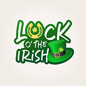 The label consist of horseshoe, shamrock and leprechaun hat and Luck of the Irish lettering for the celebration event of St. Patrick's Day