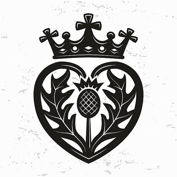 luckenbooth brosche vektor. schottische hochzeit herz mit krone. valentinstag-illustration - hochzeitsanstecker stock-grafiken, -clipart, -cartoons und -symbole