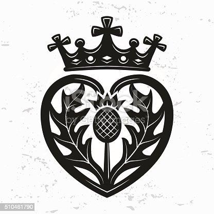 Luckenbooth Brooch Vector Scottish Wedding Heart Crown