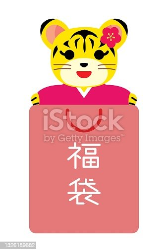 Lucky bag of the cute tiger of the Year of the Tiger and Japanese letter.