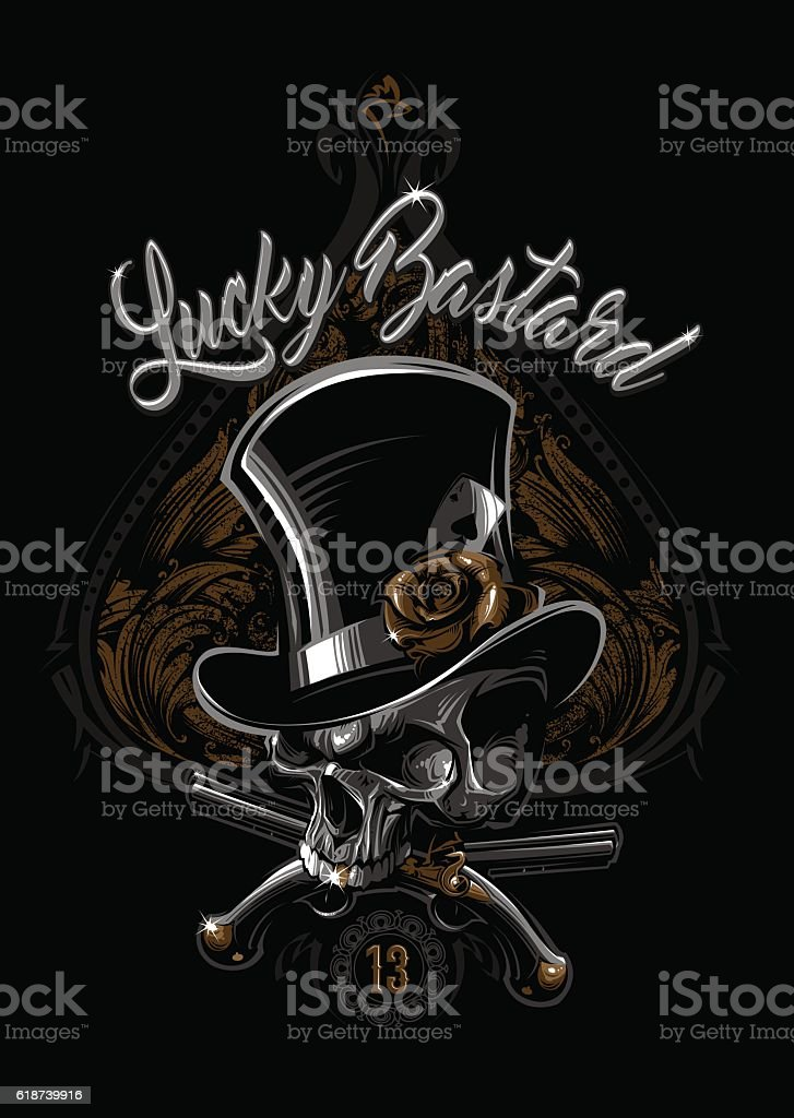 Lucky Bastard vector art illustration