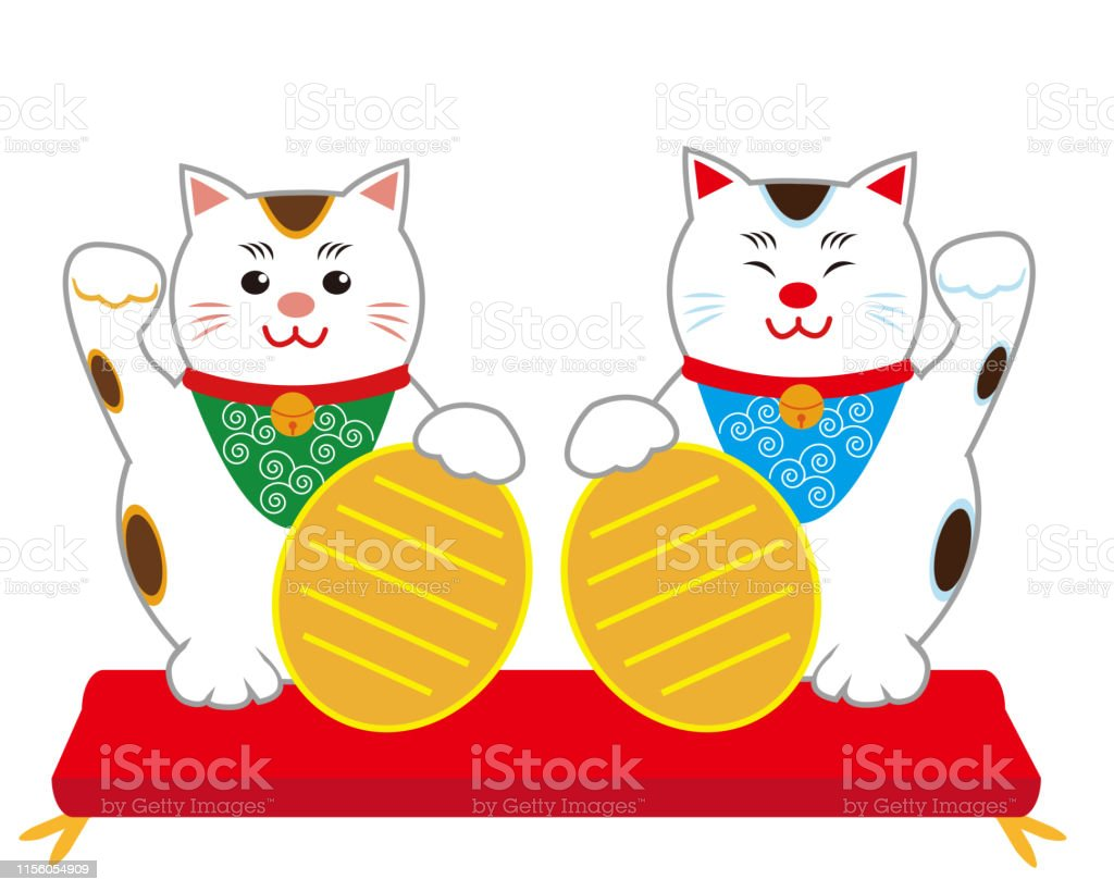 Lucky black cat sitting and holding golden coin. Cute cartoon...