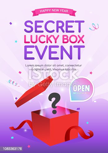 Lucky Box Event poster vector illustration, Surprise red gift box on bright purple background