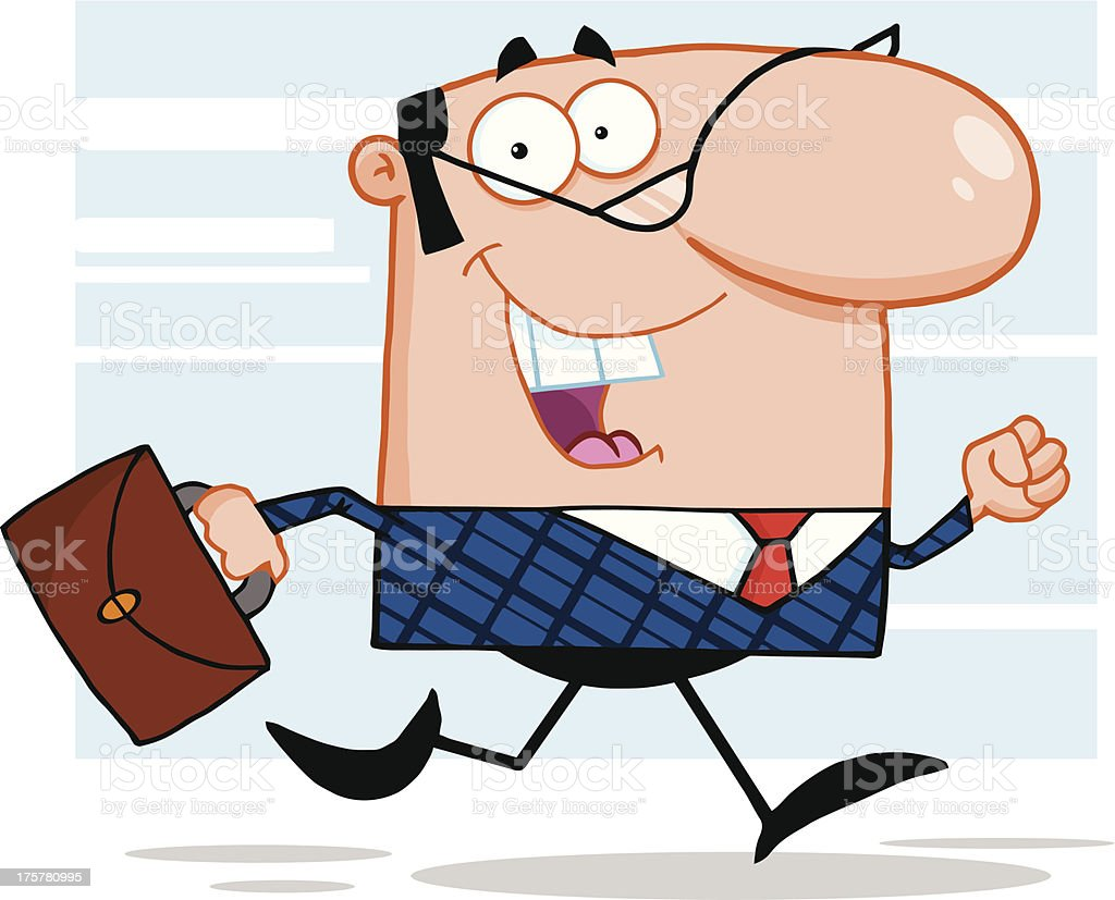 Lucky Business Manager Running To Work With Briefcase And Background royalty-free stock vector art