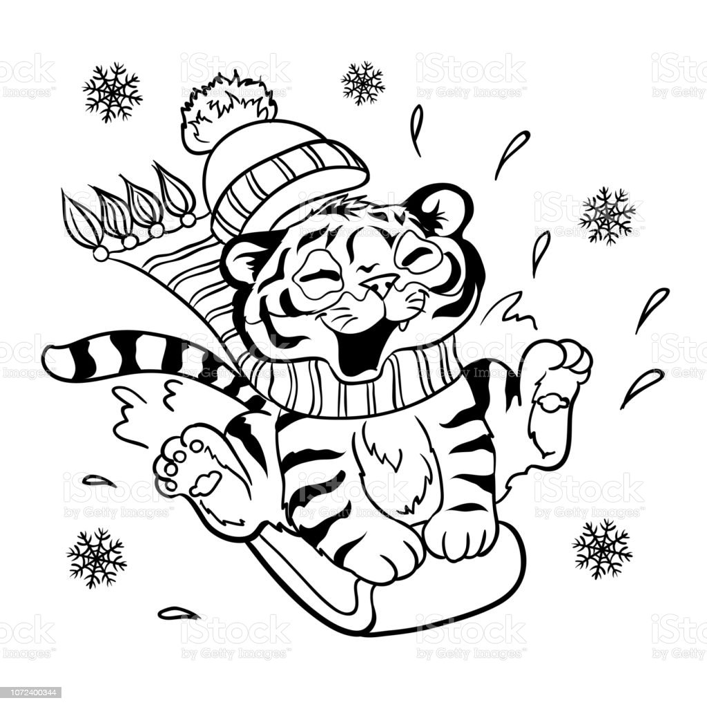 Lucky Cartoon Tiger Cub Riding On A Snowboard Page For Coloring Book Stock Illustration Download Image Now