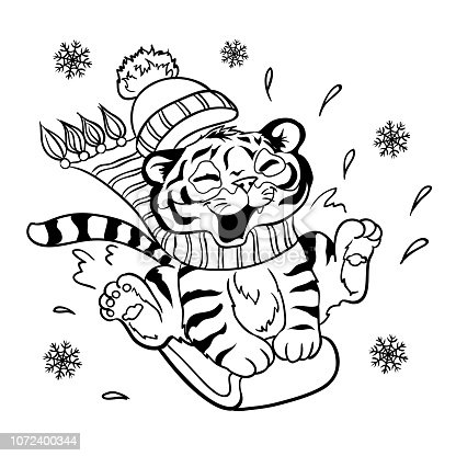 istock Lucky cartoon tiger cub riding on a snowboard. Page for coloring book. 1072400344