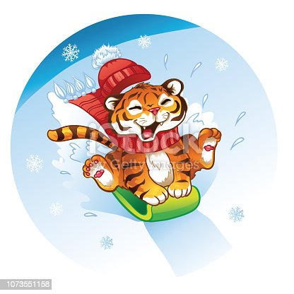 istock Lucky cartoon tiger cub riding on a snowboard. Vector illustration of funny happy animal on an isolated background. 1073551158