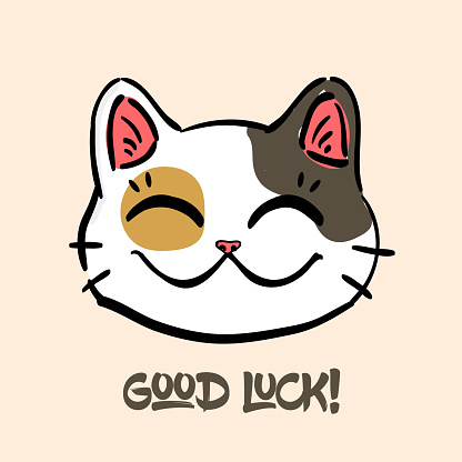 """lucky cat and text""""Good luck"""
