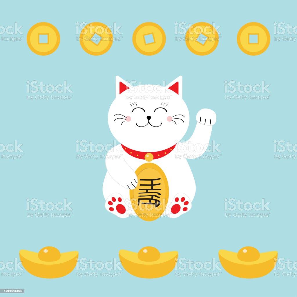 Lucky Cat Holding Golden Coin Japanese Maneki Neco Cat Waving Hand