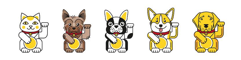 Lucky cat with bulldog, corgi, labrador, Yorkshire terrier bring good luck