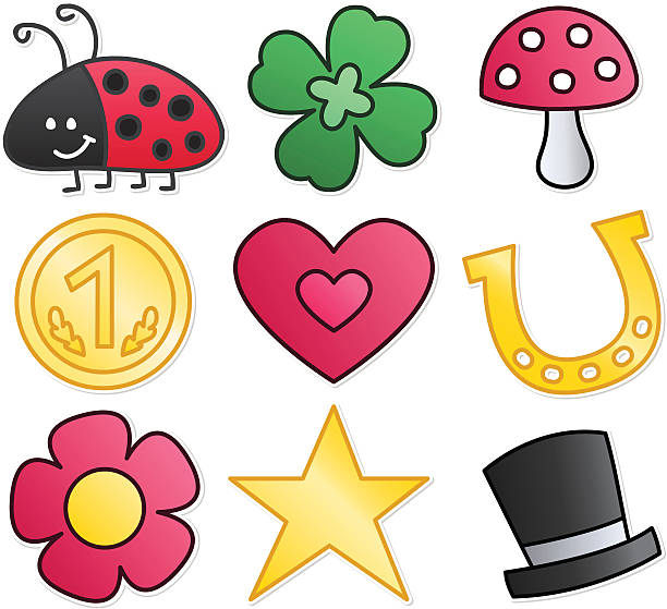 Lucky Charm Symbols vector drawings of Good Luck Symbols: good luck charm stock illustrations