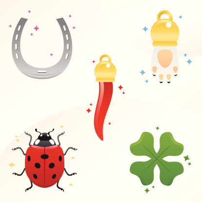 lucky charms - pepper, rabbit's paw, ladybug, clover and horseshoe