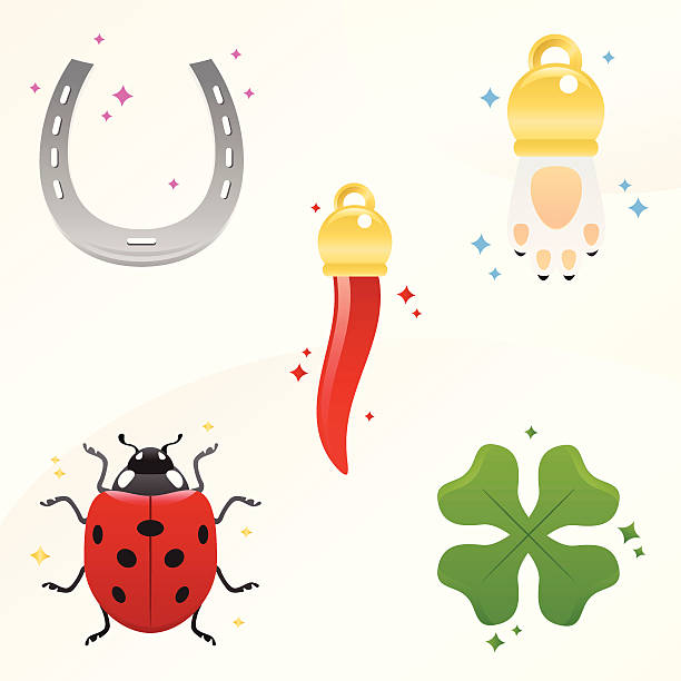 lucky charms - pepper, rabbit's paw, ladybug, clover and horseshoe some lucky charms. Gambling and chance concept: ladybug, rabbit's paw, chili pepper, horn, clover, horseshoe good luck charm stock illustrations