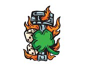 Lucky Clover And Flaming Motorcycle Piston Illustration