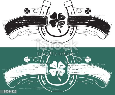 Tattoo style banners with horseshoe and clover. Both grunge style. Re-color in one step, placed on any background, background will show through. Files provided Ai8 eps and large .jpg.