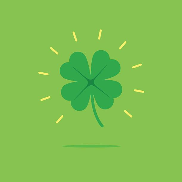 Lucky clover leaf vector icon vector art illustration