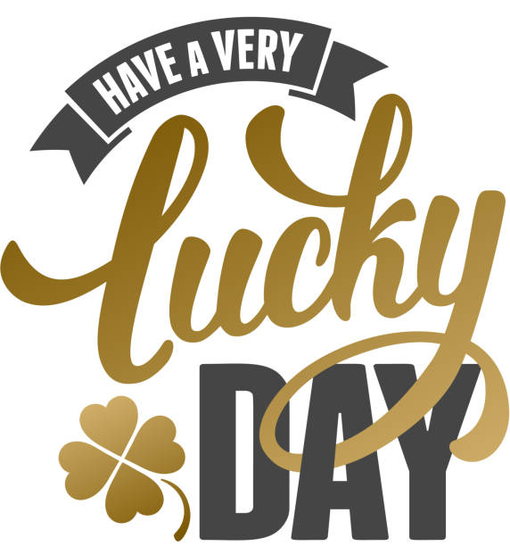 Lucky Day Calligraphic Inscription with Wishes a Very Lucky Day for Saint Patricks Day. Shamrock - Talisman for Success, Wealth. Hand Drawn Lettering. Vector Illustration. Isolated on White Background. good luck charm stock illustrations