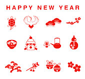 ラッキー商品新年のカードのアイコンを設定