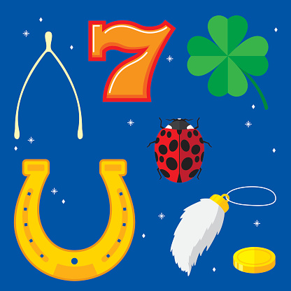 Vector illustration of seven lucky items in flat style.  Items include: wishbone, horseshoe,four leaf clover, number 7,lady bug,rabbit's foot, and gold coin.
