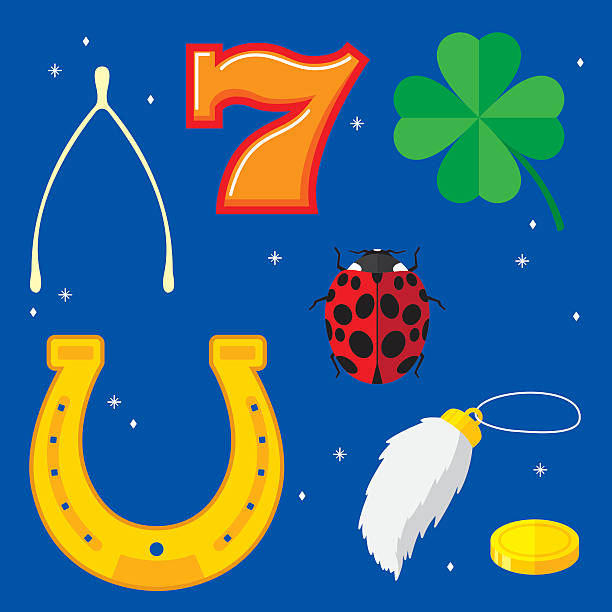 Lucky Items Flat Vector illustration of seven lucky items in flat style.  Items include: wishbone, horseshoe,four leaf clover, number 7,lady bug,rabbit's foot, and gold coin. good luck charm stock illustrations