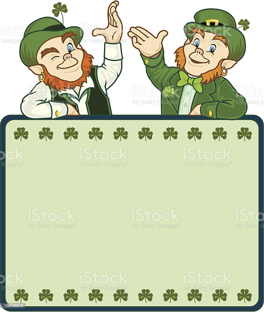 Lucky Leprechauns With Sign royalty-free stock vector art