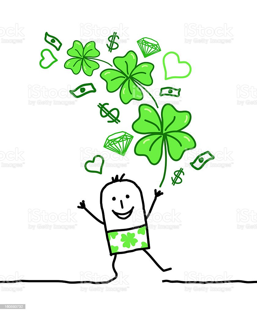 lucky man with bunch of clovers & money royalty-free stock vector art