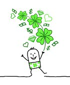 lucky man with bunch of clovers & money