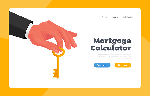 Lucky Opportunity and Success Landing Page Template. Male Hand in Formal Wear Holding Gold Key in Fingers. Real Estate