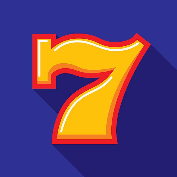 Lucky Seven Icon Flat vector art illustration