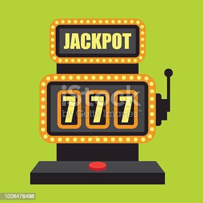 lucky sevens jackpot in golden slot machine. vector illustration